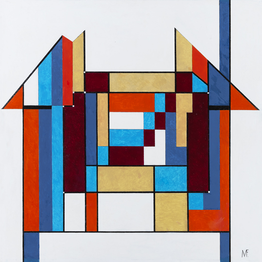 """Milly Flamburiari. """"House"""", 2019. Oil, pen and ink on board, 60 x 60 cm."""
