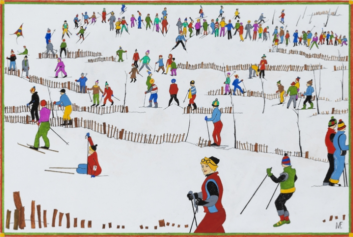 """Milly Flamburiari. """"On the Slopes"""", 2019. Oil, pen and ink on board, 41 x 55 cm."""